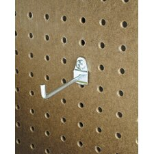 DuraHook 4 In. Single Rod 30 Degree Bend 3/16 In. Dia. Zinc Plated Steel Pegboard Hook for DuraBoard, 10 Pack