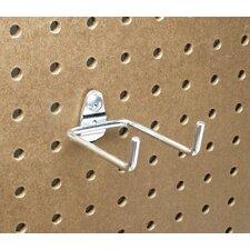 DuraHook 2-3/4 In. Double Rod 80 Degree Bend 1/4 In. Dia. Zinc Plated Steel Pegboard Hook for DuraBoard, 10 Pack