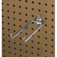 <strong>Triton Products</strong> DuraHook 8-1/4 In. Double Rod 80 Degree Bend 1/4 In. Dia. Zinc Plated Steel Pegboard Hook for DuraBoard, 5 Pack