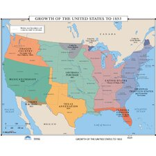 U.S. History Wall Maps - Growth of U.S. to 1853