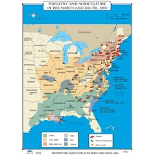 U.S. History Wall Maps - Industry & Agriculture in North & South