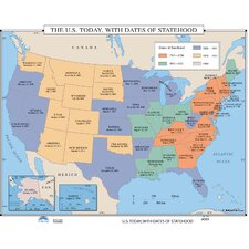 U.S. History Wall Maps - U.S. Today, With Dates of Statehood