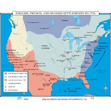 World History Wall Maps - English, French & Spanish Settlements to 1776