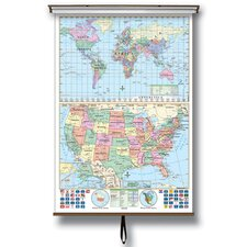 U.S. and World Stacked Wall Map on Roller with Backboard