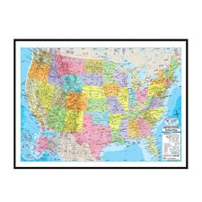 United States Advanced Political Mounted Framed Wall Map