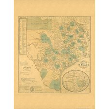 Texas 1853 Historical Print Mounted Wall Map