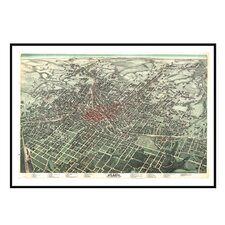 Atlanta 1892 Historical Print Mounted Framed Wall Map