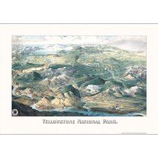 Yellowstone National Park 1904 Historical Print Mounted Wall Map