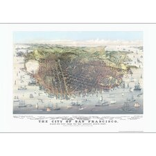 San Francisco 1878 Historical Print Mounted Wall Map