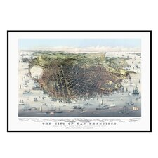 <strong>Universal Map</strong> San Francisco 1878 Historical Print Mounted Framed Wall Map