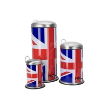 Cool Britannia Union Jack Pedal Rubbish Bin Set (Set of 3)