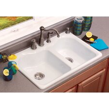 "Advantage Series 33"" x 22"" Warwick Double Bowl Contoured Self Rimming Kitchen Sink"