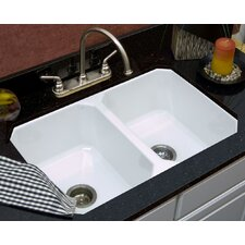 "Optimum Series 30.5"" x 19.5"" Nyatt 50/50 Double Bowl Undermount Kitchen Sink"