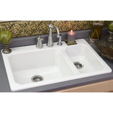 "Advantage Series 33"" x 22"" Cranston Double Bowl Hi-Lo Kitchen Sink"