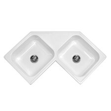 "Advantage Series 32"" x 32"" Harmony Double Bowl Self Rimming Corner Kitchen Sink"
