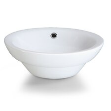 Semi-Recessed Round Vitreous China Vessel Bathroom Sink