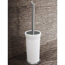 Karma Toilet Brush Holder in Bright White and Chrome