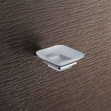 Kansas Wall Mounted Matte Glass Soap Dish in Chrome