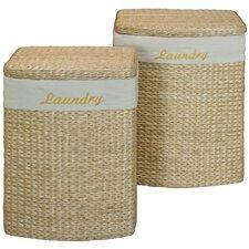 2 Piece Wicker Laundry Basket Set
