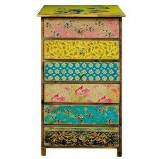 Shabby Elegance 6 Drawer Vintage Floral Chest