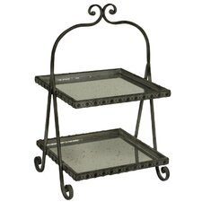 2 Tiered Square Mirrored Cakestand