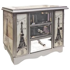 Gifts and Accessories Night in Paris Glass Print Jewellery Box