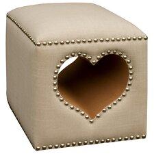 Quality Comfort Linen Hollow Heart Pouffe