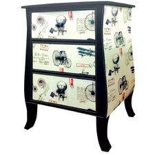 History of Travel 3 Drawer Curved Chest