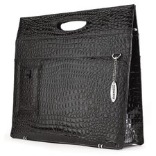 Women's Faux-Croc Briefcase in Black