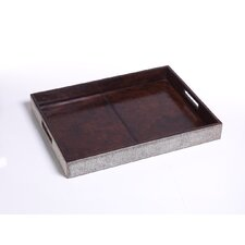 Equestrian Hide and Leather Rectangular Serving Tray