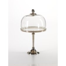 Aluminum Cake Stand with Glass Dome