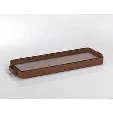 Faux Leather Oblong Serving Tray