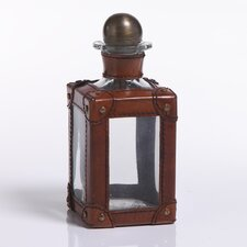 Barclay Butera Equestrian Leather Glass Decanter with Metal Stopper