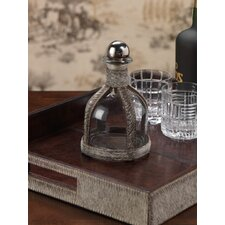 Barclay Butera Equestrian Hide Glass Decanter with Metal Stopper