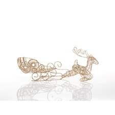 Glitter Wire Reindeer and Sleigh (Set of 2)