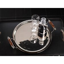 Barclay Butera Montecito Round Serving Tray with Bamboo Handles