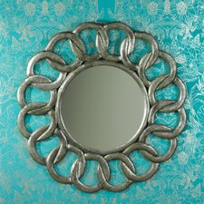 Interlocking Design Carved Wooden Wall Mirror