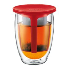 Tea for One Double Wall Glass with Strainer in Red