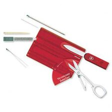 SwissCard Multi-Function Pocket Tool in Translucent Ruby