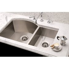 "Vintage 34"" x 19.5"" Undermount Double Bowl Kitchen Sink"