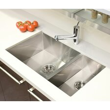 "UrbanEdge 29"" x 17.5"" Undermount Double Bowl Kitchen Sink"