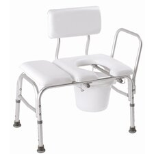 Deluxe Vinyl Padded Transfer Bench with Cutout and Commode Pail