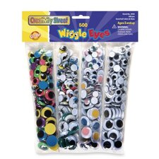 Wiggle Eyes, 500per Pack, Assorted Colors/Sizes