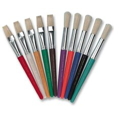 Paint Brushes,Natural Bristles, Flat, 10/ST, Assorted