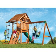 Telescope, Steering Wheel, Rope Ladder, Rock Climbing Wall, 3 Belt Swings, Slide, Sandbox