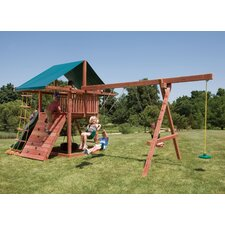 Redwood Three Ring Adventure Swing Set