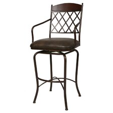 "Napa Ridge Rust 30"" Swivel Bar Stool w/ Arms in Coffee Fabric"