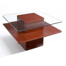 Jesper Office 757 Glass Top 30-in Square End Table with Shelf