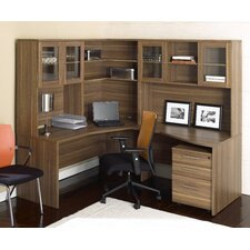 "63"" Crescent Desk Suite with Hutches"
