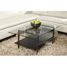 Jesper Office Modern Glass Coffee Table with Shelf